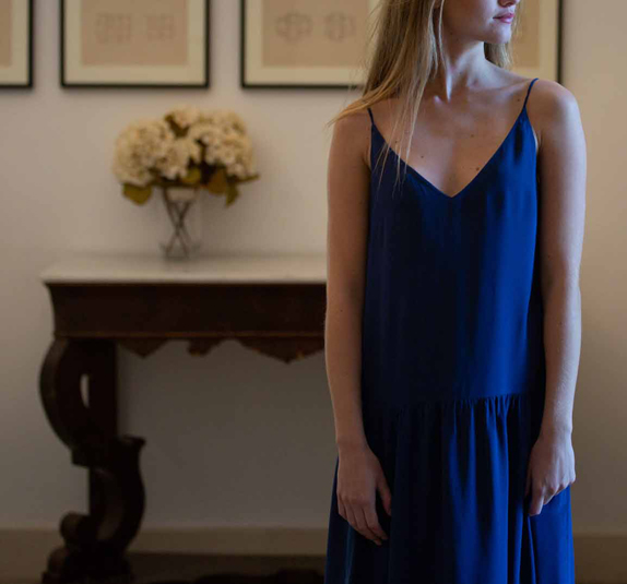 Blue flounced silk dress