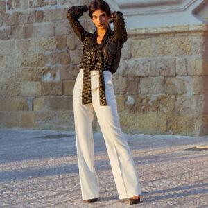 Pantalone bianco in lana