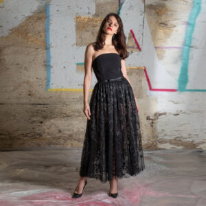 Tulle skirt with silk organza strap
