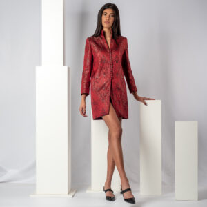 Red jacquard overcoat