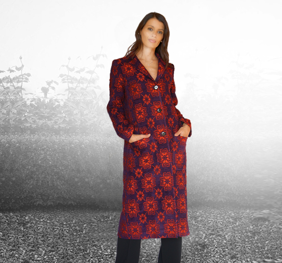 Silk brocade overcoat